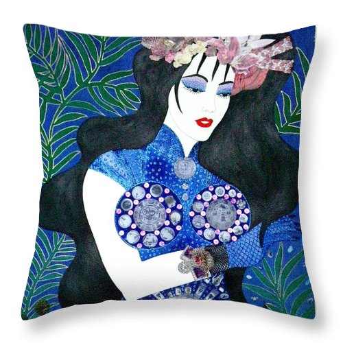 Asian Throw Pillow featuring the painting Ma Belle Salope Chinoise No.11 by Dulcie Dee