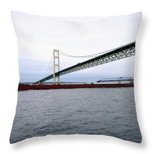 Ship Throw Pillow featuring the photograph Mackinac Bridge With Ship by Ronald Grogan