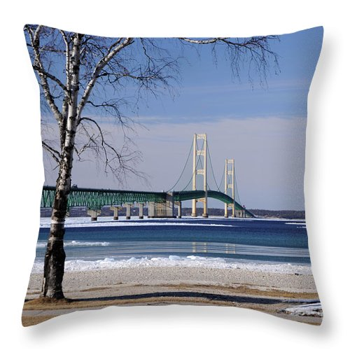 Trees Throw Pillow featuring the photograph Mackinac Bridge With Trees by Ronald Grogan
