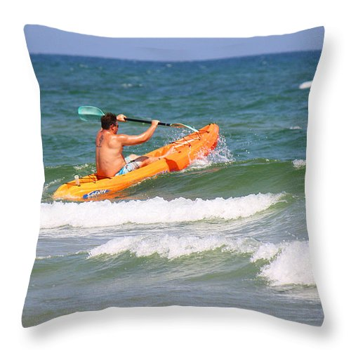 Roena King Throw Pillow featuring the photograph Made It Past The Breakwater by Roena King