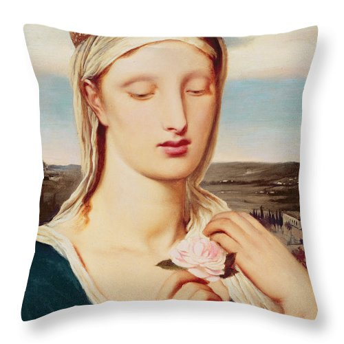 Madonna (oil On Panel) By Simeon Solomon (1840-1905) Throw Pillow featuring the painting Madonna by Simeon Solomon