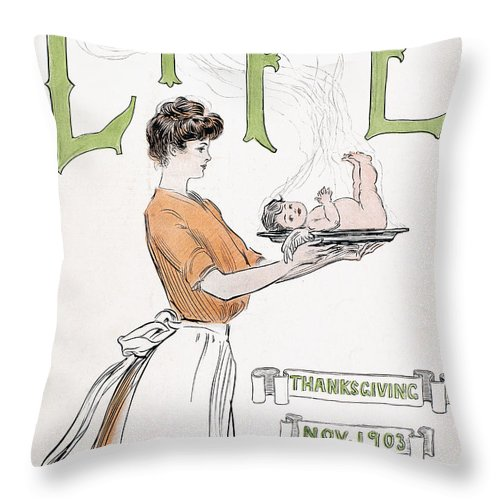 1903 Throw Pillow featuring the photograph Magazine: Life, 1903 by Granger
