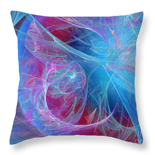 Fine Art Throw Pillow featuring the digital art Magenta Blue by Andee Design