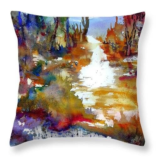 Abstract Throw Pillow featuring the painting Magic Trail by John Mabry