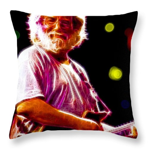 Jerry Garcia Throw Pillow featuring the painting Magical Jerry Garcia by Paul Van Scott