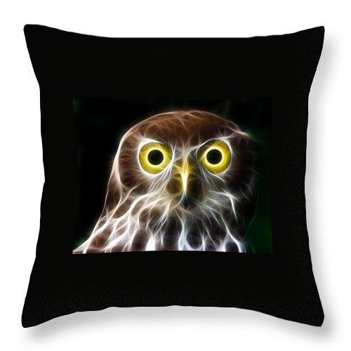 Owl Throw Pillow featuring the digital art Magical Owl by Paul Van Scott