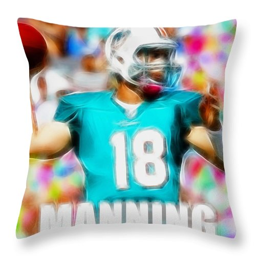 Peyton Manning Throw Pillow featuring the painting Magical Peyton Manning Miami Dolphins by Paul Van Scott