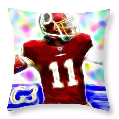 Washington Redskins Throw Pillow featuring the painting Magical Rg3 by Paul Van Scott