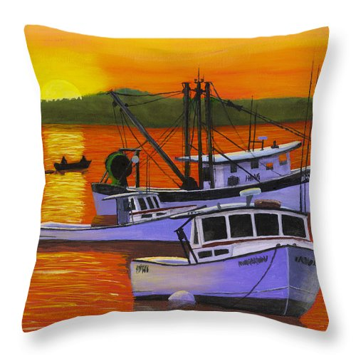Maine Throw Pillow featuring the painting Maine Fishing Boats At Sunset Port Clyde Painting by Keith Webber Jr