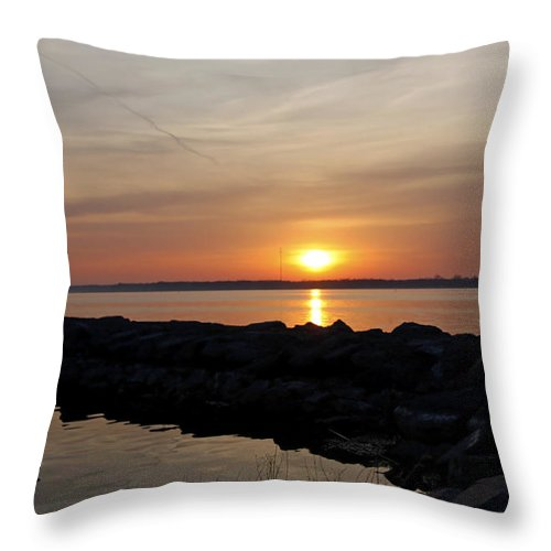Majestic Sunset At The Point Throw Pillow featuring the photograph Majestic Sunset At The Point by Inspired Nature Photography Fine Art Photography