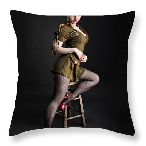Redhead Pinup Art Throw Pillow featuring the photograph Major Trouble 477 by Gary Heller
