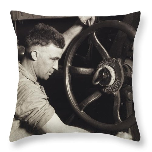 Industry; Industrial; Design; Pennsylvania Rubber; Control; Wheel; Calendar; Making; Auto; Motor; Tire; Tires; Tyres; 1920s; 20s; Twenties; Male; Portrait; Mechanic; Work; Worker; Working; Labor; Laborer; Effort; Production; Energy; Direction; Turning; Strong; Strength; Power; Manufacture; Photography; Black And White Photograph; B/w Photo Throw Pillow featuring the painting Making Auto Tires by LW Hine