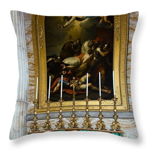 Basilica St. Paul Outside The Walls Throw Pillow featuring the photograph Malachite And Lapis Lazuli Altar by Sally Weigand