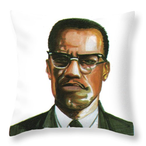Portraits Throw Pillow featuring the painting Malcolm X by Emmanuel Baliyanga