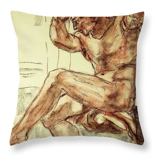 Male Throw Pillow featuring the drawing Male Nude Figure Drawing Sketch With Power Dynamics Struggle Angst Fear And Trepidation In Charcoal by MendyZ M Zimmerman