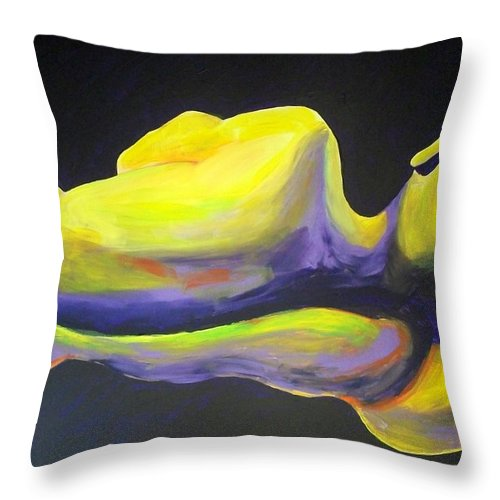 Male Throw Pillow featuring the painting Male Torso by Randall Weidner