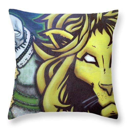 Graffiti Throw Pillow featuring the photograph Man And Beast by Bob Christopher