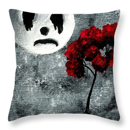 Dark Throw Pillow featuring the painting Man In The Moon by Oddball Art Co by Lizzy Love