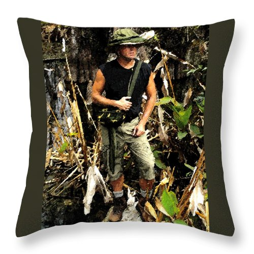Art Throw Pillow featuring the painting Man In The Wilderness by David Lee Thompson