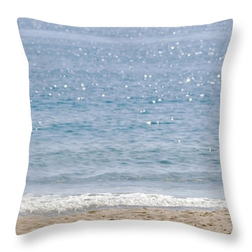 Man Sits On Chair On The Beach Throw Pillow featuring the photograph Man On Beach by Cliff Norton