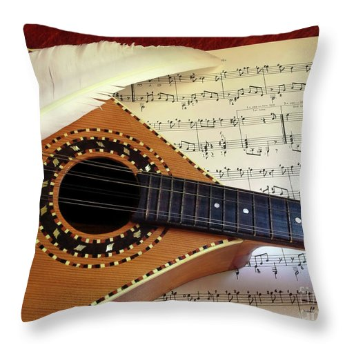 Aged Throw Pillow featuring the photograph Mandolin And Partiture by Carlos Caetano