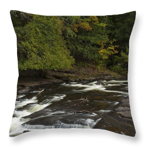 Manido Throw Pillow featuring the photograph Manido Falls 7 by John Brueske