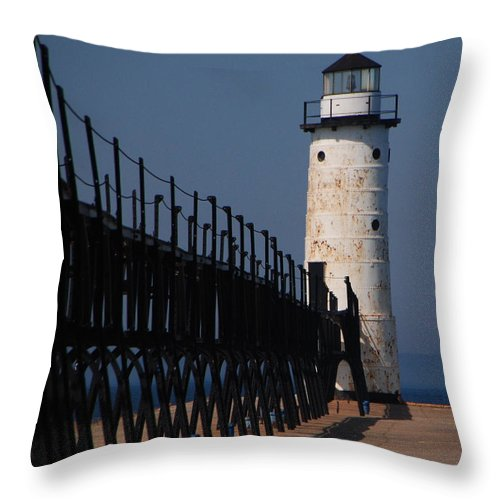 Lighthouse Throw Pillow featuring the photograph Manistee Harbor Lighthouse And Cat Walk by Grace Grogan