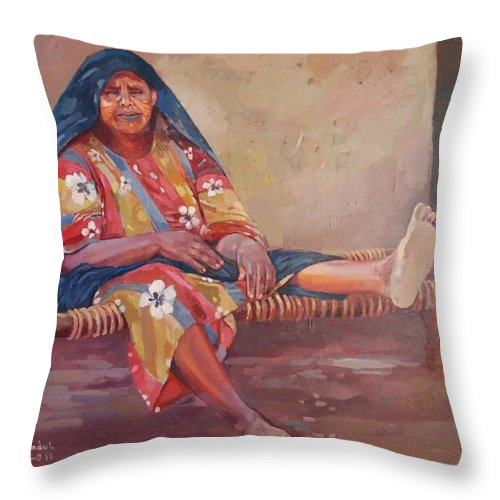 Mansorya Throw Pillow featuring the painting Mansorya by Mohamed Fadul