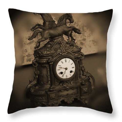 Mantel Clock Throw Pillow featuring the photograph Mantel Clock by Mike McGlothlen