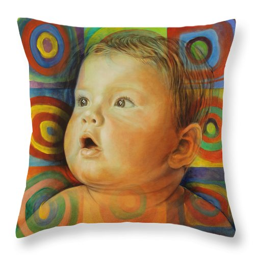 Baby Throw Pillow featuring the painting Manuel's Portrait by Karina Llergo