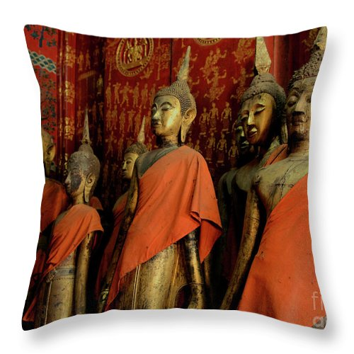 Monks Throw Pillow featuring the photograph Many Buddhas by Bob Christopher