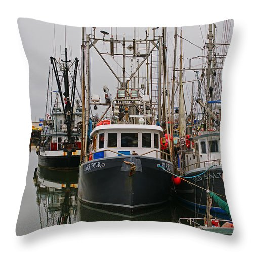 Fishing Boats Throw Pillow featuring the photograph Many Fish Boats by Randy Harris