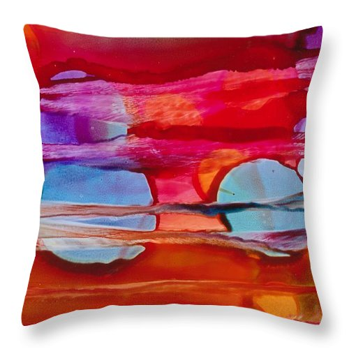 Abstract Throw Pillow featuring the painting Many Moons by Susan Kubes