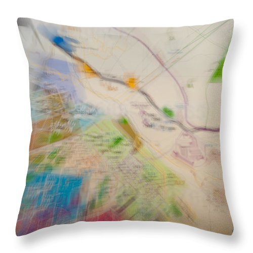 Map Throw Pillow featuring the photograph Map Abstract 2 by Paulette B Wright