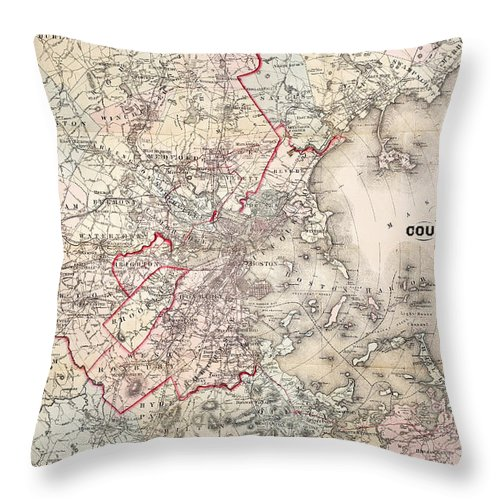 1883 Throw Pillow featuring the photograph Map: Boston, 1883 by Granger