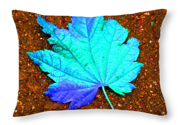 Macro Maple Leaf Print Throw Pillow featuring the photograph Maple Leaf On Pavement by Marie Jamieson