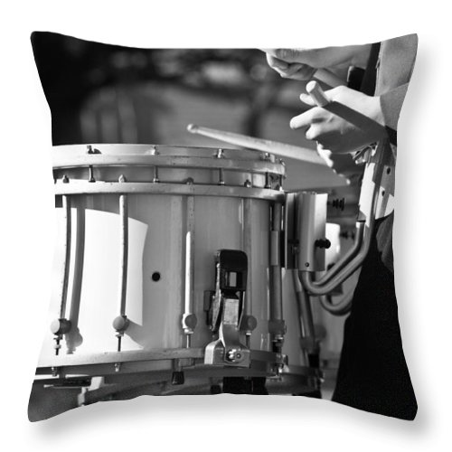 Cornet Throw Pillow featuring the photograph Marching Band Drummer Boy Bw by James BO Insogna