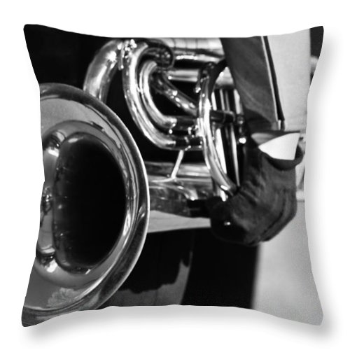 Cornet Throw Pillow featuring the photograph Marching Band Horn Bw by James BO Insogna