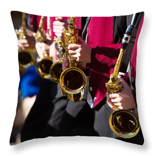 Saxophone Throw Pillow featuring the photograph Marching Band Saxophones by James BO Insogna