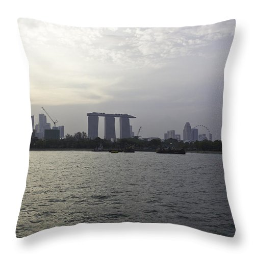 Admiral Cheng Ho Cruise Throw Pillow featuring the photograph Marina Bay Sands And Flyer Along With Singapore Skyline From The by Ashish Agarwal