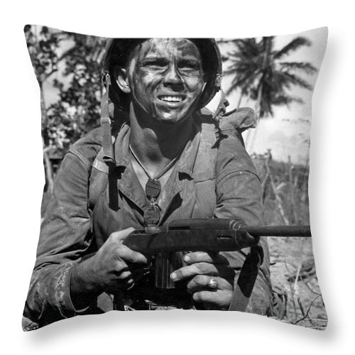 Vertical Throw Pillow featuring the photograph Marine Awaits Signal To Go Ahead by Stocktrek Images