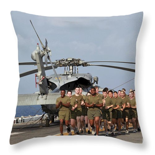 Warship Throw Pillow featuring the photograph Marines And Sailors Run Aboard Uss by Stocktrek Images