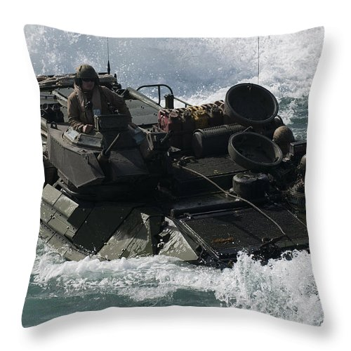 Warship Throw Pillow featuring the photograph Marines Drive An Amphibious Assault by Stocktrek Images