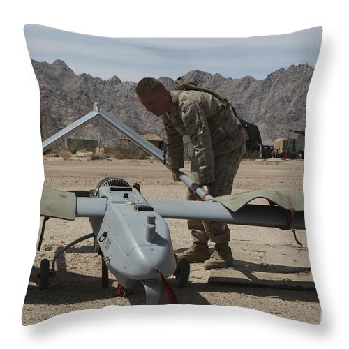 Uav Throw Pillow featuring the photograph Marines Move An Rq-7 Shadow Unmanned by Stocktrek Images