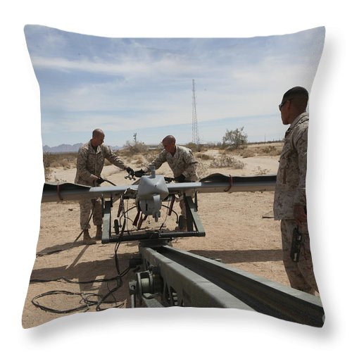 Uav Throw Pillow featuring the photograph Marines Place An Rq-7 Shadow Unmanned by Stocktrek Images
