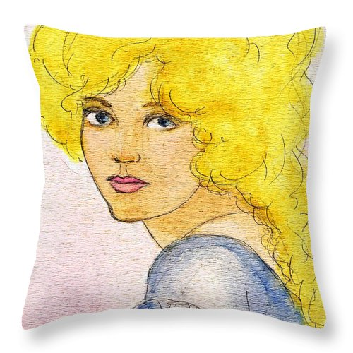 Nostalgia Throw Pillow featuring the drawing Marion Davies by Mel Thompson