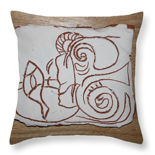 Jesus Throw Pillow featuring the ceramic art Market Seller 7 by Gloria Ssali
