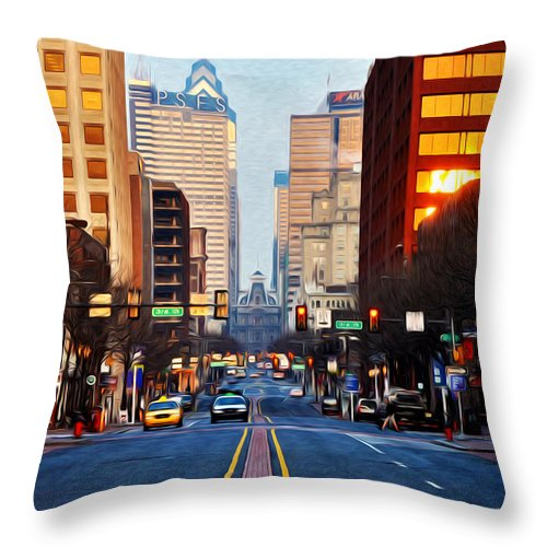 Market Street In The Morning Throw Pillow featuring the photograph Market Street In The Morning by Bill Cannon