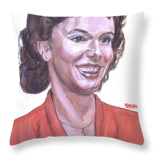 Portrait Throw Pillow featuring the painting Marketa by Bryan Bustard