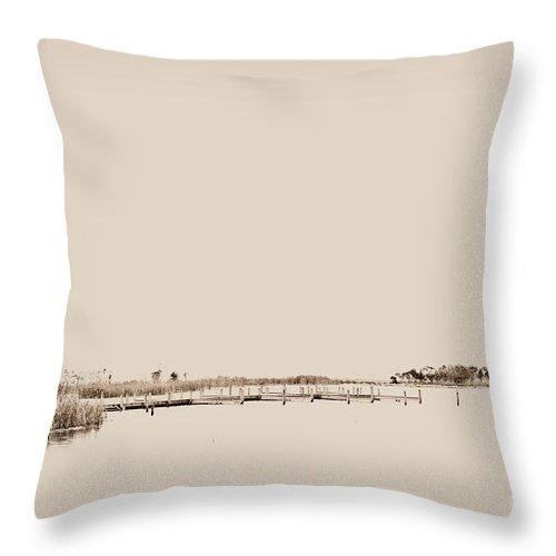 Currituck Bay Throw Pillow featuring the photograph Marsh Rev6 by Paulette B Wright